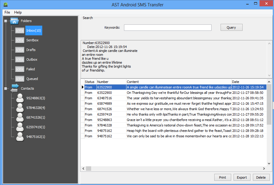 AST Android SMS Transfer
